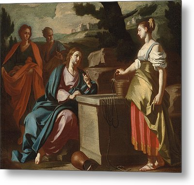 Christ And The Woman Of Samaria At The Well Metal Print