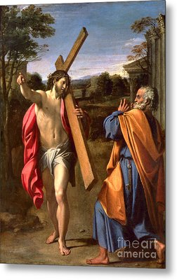 Christ Appearing To St. Peter On The Appian Way Metal Print by Annibale Carracci