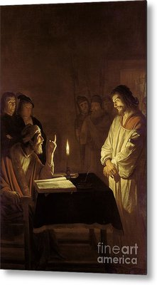 Christ Before The High Priest Metal Print by Gerrit van Honthorst