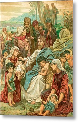Christ Blessing Little Children Metal Print