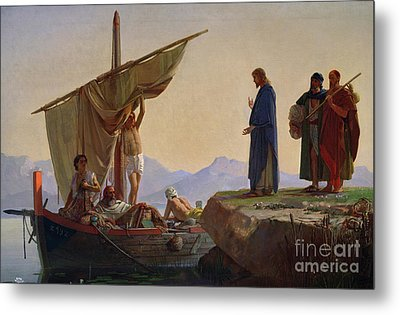 Christ Calling The Apostles James And John Metal Print by Edward Armitage