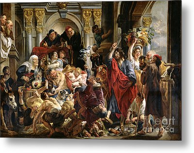 Christ Driving The Merchants From The Temple Metal Print