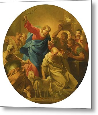 Christ Driving The Money Lenders Metal Print by MotionAge Designs