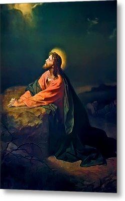 Christ In Garden Of Gethsemane Metal Print by Heinrich Hofmann
