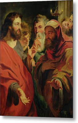 Christ Instructing Nicodemus Metal Print by Jacob Jordaens