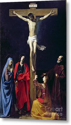Christ On The Cross With The Virgin Mary Magdalene St John And St Francis Of Paola Metal Print by Nicolas Tournier