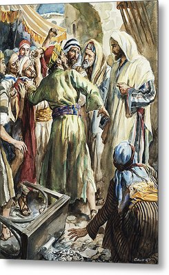 Christ Removing The Money Lenders From The Temple Metal Print by Henry Coller
