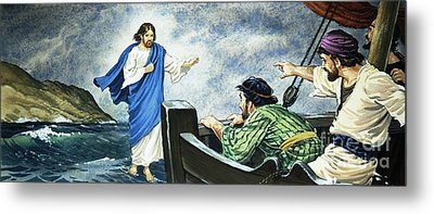 Christ Walking On The Water Metal Print by English School
