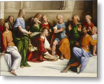 Christ Washing The Disciples' Feet Metal Print