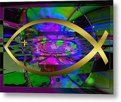 Christian Fish Ichthus Metal Print by Robert Kernodle