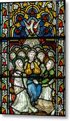 Christian Pentecost On A Stained Glass At Christ Chuch Cathedral Dublin Metal Print by RicardMN Photography