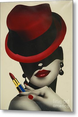 Christion Dior Red Hat Lady Metal Print by Jacqueline Athmann