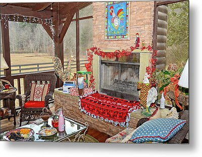 Christmas At The Farm Metal Print
