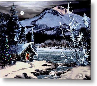 Christmas At The Lake V2 Metal Print