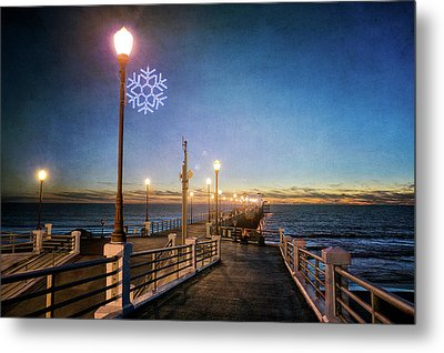 Christmas At The Pier Metal Print by Ann Patterson