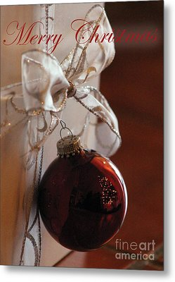 Christmas Ball And Bow Metal Print
