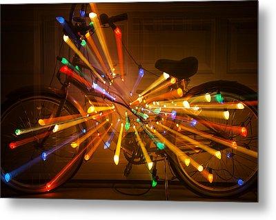 Christmas Bike Abstract Metal Print by Garry Gay