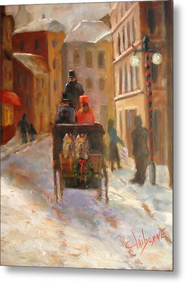 Christmas Buggy Ride  Metal Print by Claiborne Hemphill-Trinklein