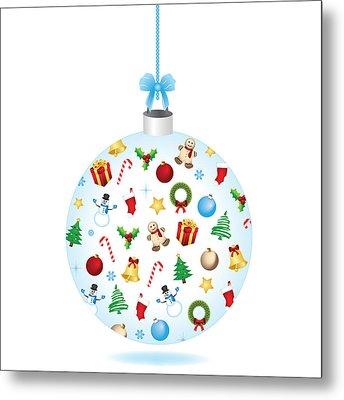 Christmas Bulb Art And Greeting Card Metal Print