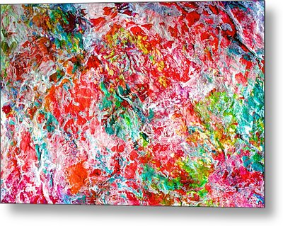 Metal Print featuring the painting Christmas Candy Color Poem by Polly Castor