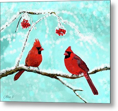 Metal Print featuring the painting Christmas Cardinals by Leslie Allen