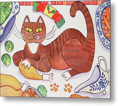 Christmas Cat And The Turkey Metal Print by Cathy Baxter