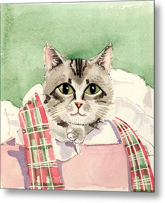 Christmas Cat Metal Print by Arline Wagner