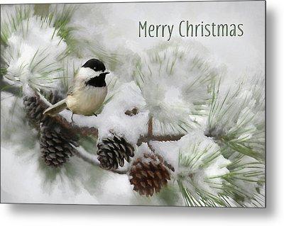 Metal Print featuring the photograph Christmas Chickadee by Lori Deiter