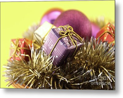 Christmas Decoration With Gift And Baubles Metal Print
