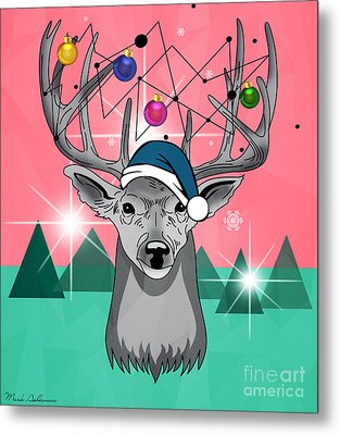 Christmas Deer Metal Print by Mark Ashkenazi
