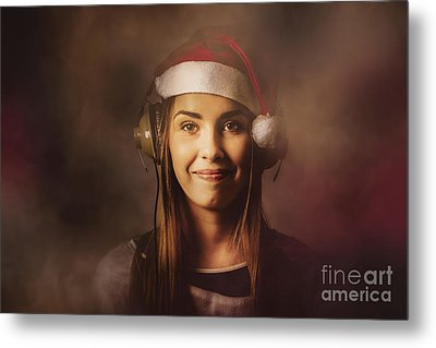 Metal Print featuring the photograph Christmas Disco Dj Woman by Jorgo Photography - Wall Art Gallery