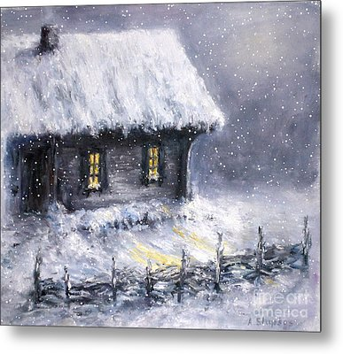 Metal Print featuring the painting Christmas Eve by Arturas Slapsys