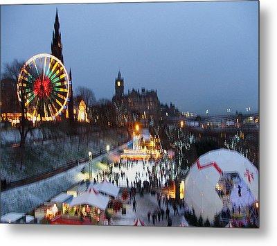 Christmas Fair Edinburgh Scotland Metal Print by Heather Lennox