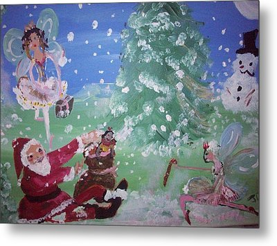 Metal Print featuring the painting Christmas Fairies by Judith Desrosiers