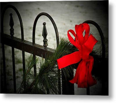 Christmas Fence Metal Print