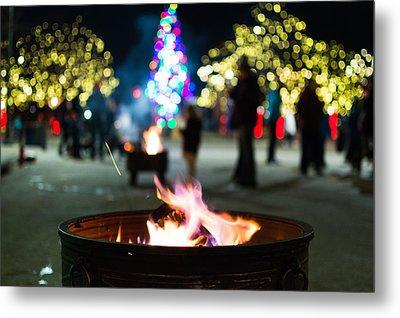 Christmas Fire Pit Metal Print