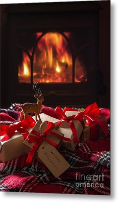 Christmas Gifts By The Fire Metal Print by Amanda Elwell