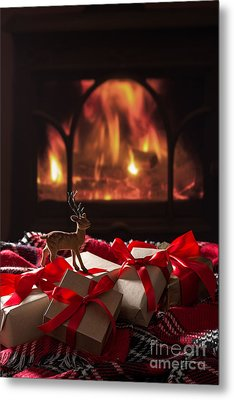 Christmas Gifts By The Fireplace Metal Print by Amanda Elwell