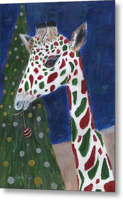 Metal Print featuring the painting Christmas Giraffe by Jamie Frier