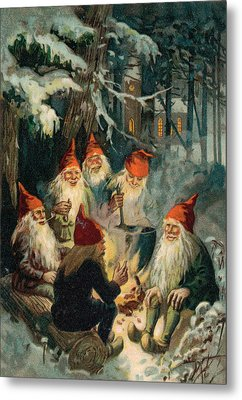 Christmas Gnomes Metal Print by English School