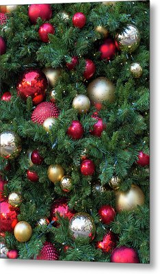 Christmas Holiday Tree Decoration Background Metal Print