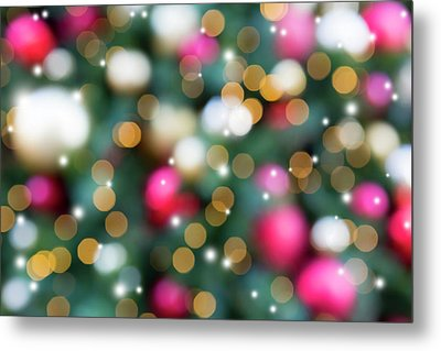 Christmas Holiday Tree Decoration Blurred Bokeh With Sparkles Metal Print