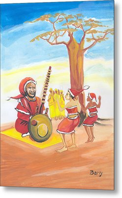 Metal Print featuring the painting Christmas In Senegal by Emmanuel Baliyanga