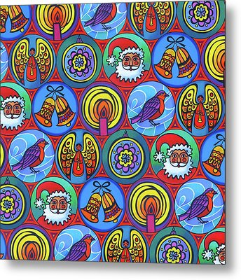 Christmas In Small Circles Metal Print by Jane Tattersfield