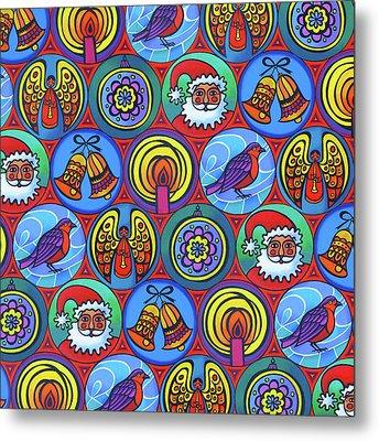 Christmas In Small Circles Metal Print