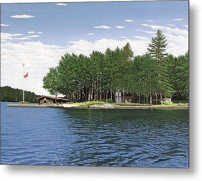 Metal Print featuring the painting Christmas Island Muskoka by Kenneth M Kirsch