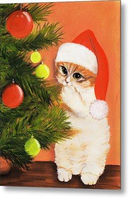 Christmas Kitty Metal Print by Anastasiya Malakhova