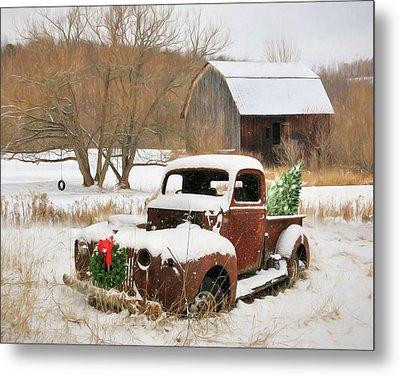 Christmas Lawn Ornament Metal Print by Lori Deiter