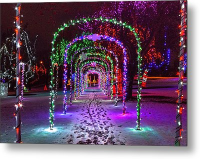 Christmas Light Arches Metal Print