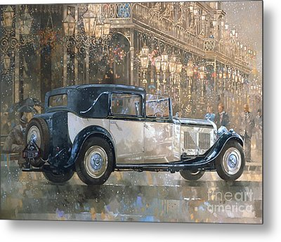 Christmas Lights And 8 Litre Bentley Metal Print by Peter Miller